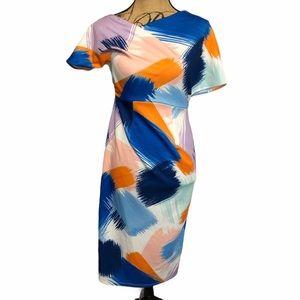 ASOS White Blue Brush Strokes Asymmetrical Dress